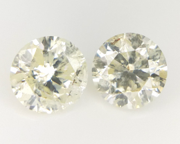 0.64 cts , Round Brilliant Cut , Yellow Coloured Diamond , 2pcs