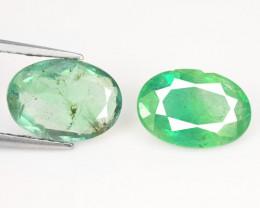 3.02 Cts 2 Pcs Natural Vivid Green Zambian Emerald Loose Gemstone