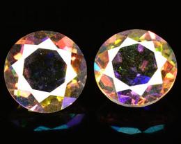 2.18 Cts 2 Pcs Rare Fancy Multi Colors Natural Mystic Quartz