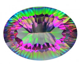 25.92 Cts Rare Fancy Multi Colors Natural Mystic Quartz
