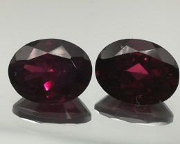 Rhodolithe pair, 4.84ct, deep red coloured stones, no treatment!