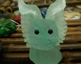 Owl animal fluorite carved home decoration (D235)