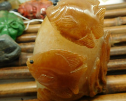 Red agate carved fish decoration (D202)
