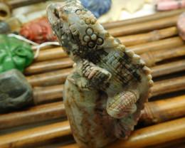 Ocean jasper carved lizard decoration (D0143)