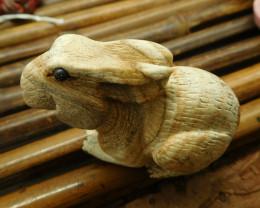 Picture jasper carved rabbit decoration (D253)
