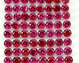 9.88 Ct 82p 2.7mm Round Cut 100% Natural Neon Purple Rhodolite Garnet Malaw