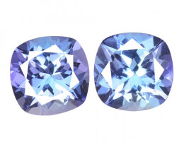 1.25 Cts 2pcs Amazing rare AA+ Violet Blue Color Natural Tanzanite Gemstone