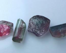 14.50 CT Natural - Unheated Bi Color Tourmaline Crystal Lot