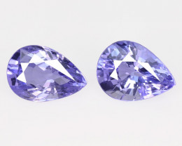 1.38 Cts 2pcs Amazing rare Violet Blue Color Natural Tanzanite Gemstone