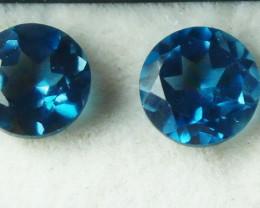 1.20 CT Natural - Unheated London Blue Topaz Gemstone Pair