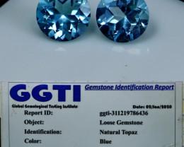 NR!!! 3.00 Cts GGTI-Certified- Blue Topaz Gemstone Pair
