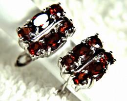 24.40 Tcw. Garnet, Sterling Silver Earrings - Gorgeous