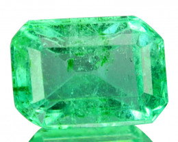 Natural Vivid Green Emerald Octagon Cut Colombia 0.47 Cts