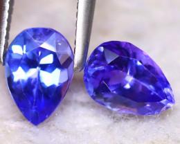 Tanzanite 1.32Ct 2Pcs Natural VVS Purplish Blue Tanzanite E0201/D3