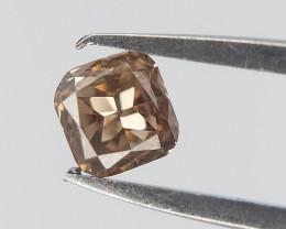 0.10 ct , Cushion Modified Cut Diamond ,Brown Peach Color Diamond