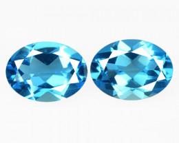 3.08 Carat 2 Pcs Blue Natural Topaz Gemstones