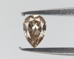 0.06 ct , Light Brown Shaded Diamond , Pear Cut Diamond