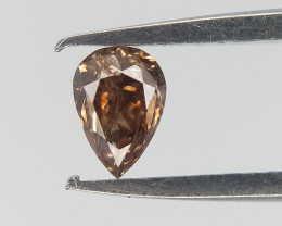 0.08 ct , Deep Brown Diamond , Natural Brilliant cut