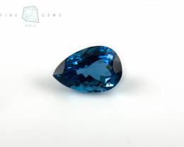 7.62 carats Swiss Blue Topaz Pear cut