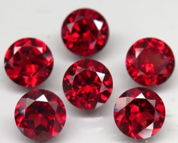 6.46 Ct. Natural Top Red Mozambique Garnet Round 6mm.Flashing Unheated 6 Pc