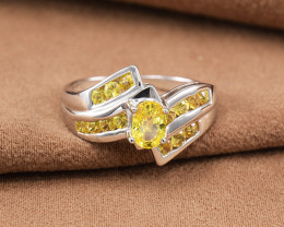 14kt White Gold Natural Vivid Yellow Sapphire Ring (GR0012)