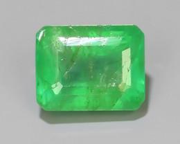 1.35 CTS STUNNING SUPER GREEN COLOUR 100% NATURAL EMERALD ZAMBIA!
