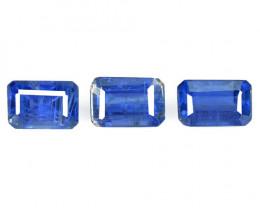 3.17 Cts 3 Pcs Fancy Royal Blue Color Natural Kyanite Gemstone