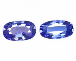 1.23 Cts 2pcs Amazing rare AA Violet Blue Color Natural Tanzanite Gemstone