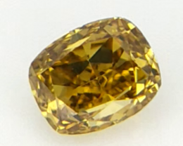 0.10 ct , Yellow Cushion Diamond , Natural Cushion Brilliant Cut