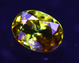 Sphene 1.24Ct Natural Rainbow Flash Green Sphene ER341/B41