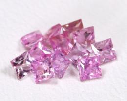 1.29Ct 12Pcs Calibrate 2.4mm Natural Princess Unheated Pink Sapphire B0403