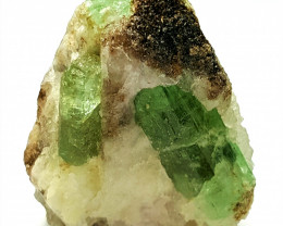 Amazing Natural color Emerald combine with Quartz Specimen 90Cts-A