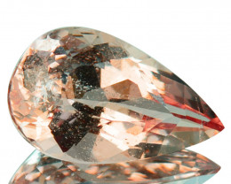 ~LOVELY~ 2.65 Cts Natural Peach Pink Morganite Pear Cut Brazil