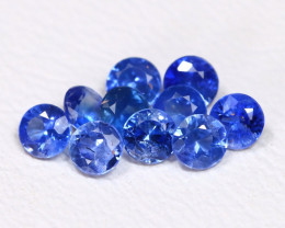 0.81Ct Calibrate 2.5mm 10Pcs Natural Vivid Blue Sapphire Round BT0062
