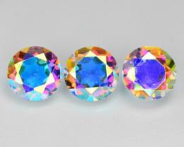 3.59 Cts 3 Pcs Rare Fancy White Rainbow Color Natural Mystic Quartz
