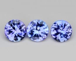 1.19 Cts 3 Pcs Amazing rare Violet Blue Color Natural Tanzanite Gemstone