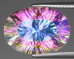11.77 Cts Rare Fancy White Rainbow Color Natural Mystic Quartz