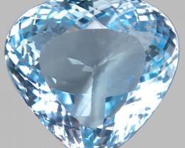 38.45 Ct. Unheated Natural Sky Blue Topaz Brazil Heart Shape Dazzling Large