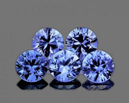3.40 mm Round 5 pcs 0.85ct Ceylon Blue Sapphire [VVS]