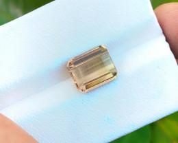 HGTL CERTIFIED 3.16 Ct Natural Bi Color Transparent Tourmaline Ring Size Ge
