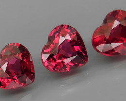 4.19 ct. Natural Earth Mined Cherry Pink Rhodolite Garnet Africa - 3 Pcs