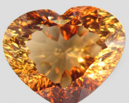 15.60  ct. Top Quality 100% Natural Topaz Orangey Brown Heart Brazil