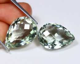 Amethyst 22.62Ct 2Pcs Pixalated Cut Natural Green Color Amethyst C0602