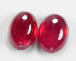 1.24 Cts 2pcs Pair Oval Shape Pinkish Red Natural Ruby BURMA  Loose Gemston