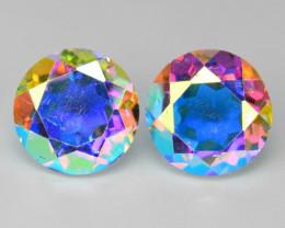 2.30 Cts 2 Pcs Rare Fancy White Rainbow Color Natural Mystic Quartz