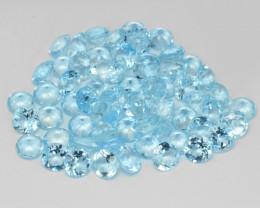 28.02 Cts 63 Pcs Un Heated 5MM Santa Maria Blue  Natural Aquamarine Loose G