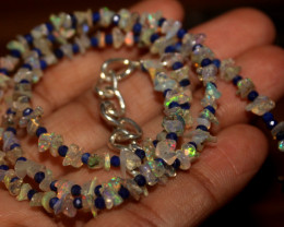 Natural Ethiopian Welo Uncut Opal & Lapis Necklace
