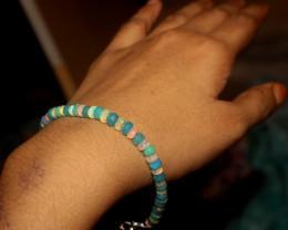 21 Crts Natural Ethiopian Welo Faceted White & Blue Opal Bracelet 163
