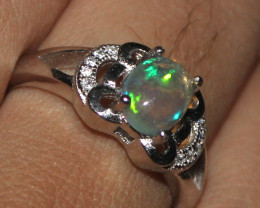 Natural Ethiopian Welo Opal 925 Sterling Silver Ring 50
