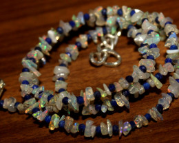 Natural Ethiopian Welo Opal & Lapis Necklace